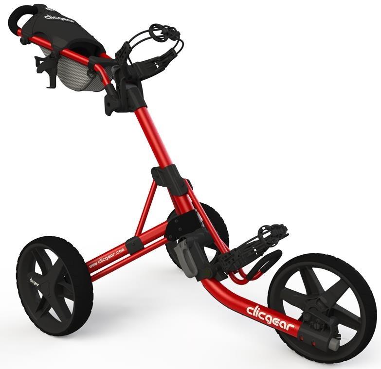 Clicgear 3.5+ golfový vozík, 3-kolový, červený/černá kola