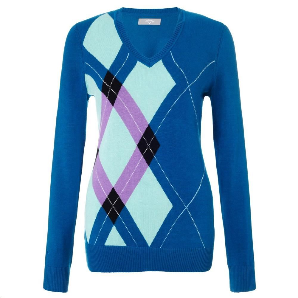 Callaway Argyle V-Neck dámský svetr, modrý dámské, XL