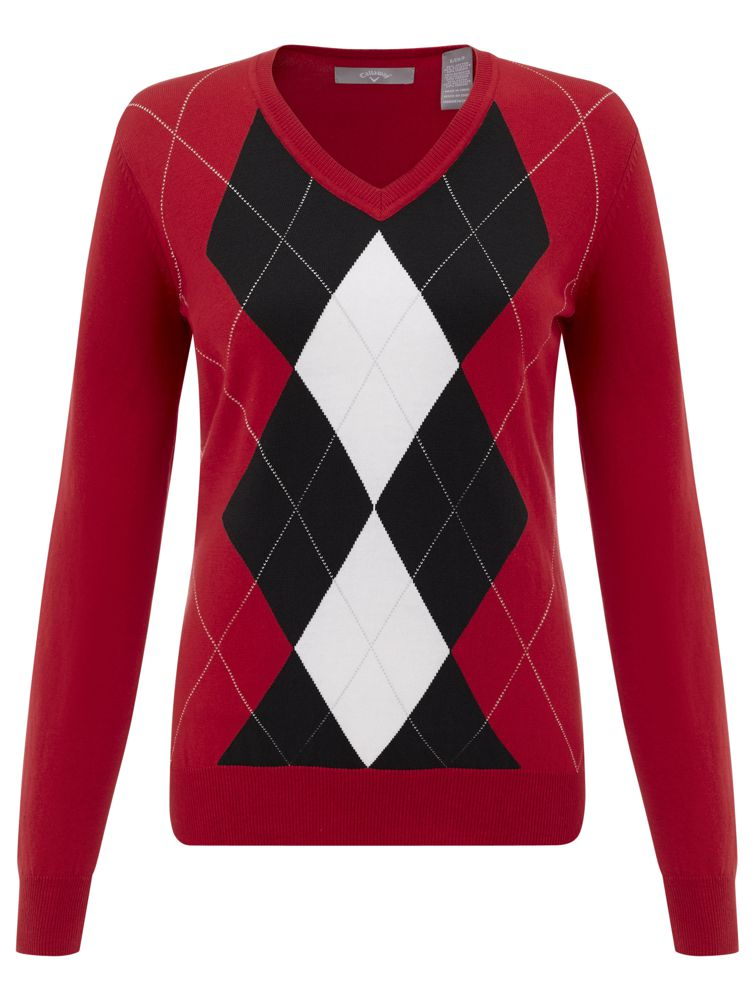 Callaway Fashion Argyle dámský svetr, červený dámské, L