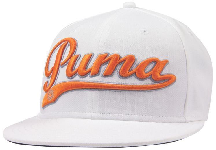 Puma Script Cool Cell Snapback golfová kšiltovka, bílo/oranžová bílá, kšiltovka, pánské, univerzální