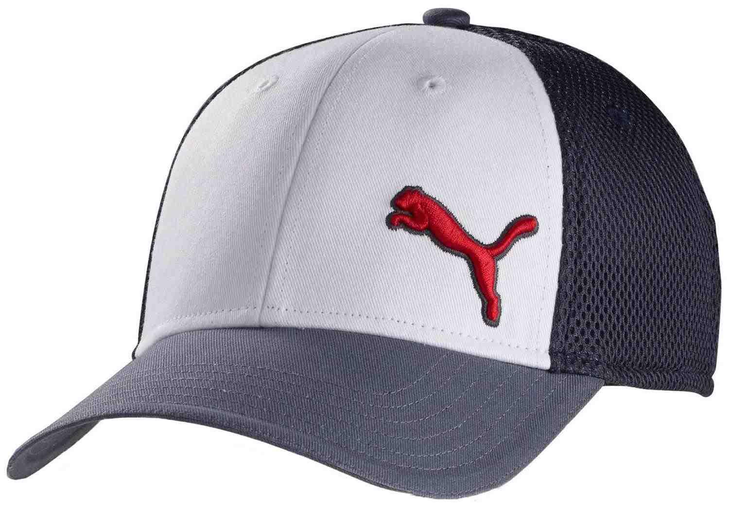 Puma Back 9 Stretch Mesh Fit golfová kšiltovka, šedo/bílá šedá, kšiltovka, pánské, S/M
