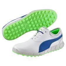 Puma Ignite Spikeless pánské golfové boty, bílo/modro/zelené bílá, 8,5