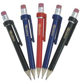 Wood Pencils with clip & Eraser X 5